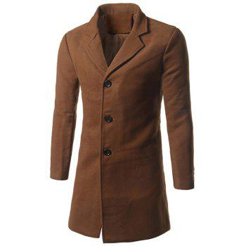 Back Vent Notch Lapel Woolen Coat