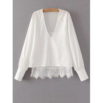 Lace Camisole Panel V Neck Blouse