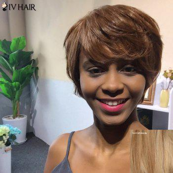 Human Hair Wigs Golden Brown With Blonde Short Side Bang Cur I Know That Girl 1