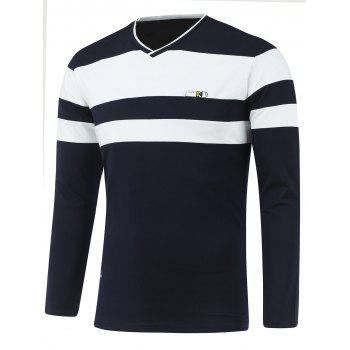 Contrast Panel Long Sleeve V Neck T-Shirt