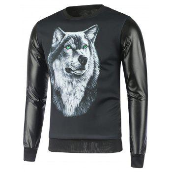 Wolf Print Faux Leather Insert Graphic Sweatshirts