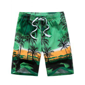 Coconut Tree Print Board Shorts