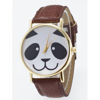Panda Face Dial Plate Quartz Watch - COFFEE COFFEE
