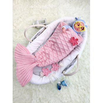 Crochet Knit Little Mermaid Blanket Throw For Baby - PINK PINK