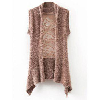 Lace Trim Mohair Sleeveless Cardigan