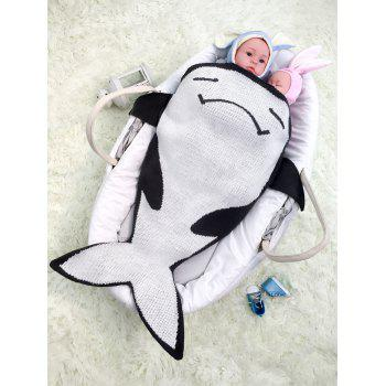 Fish Shape Knitting Cartoon Blanket For Baby - BLACK WHITE BLACK WHITE