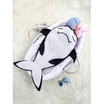Fish Shape Knitting Cartoon Blanket For Baby -  BLACK WHITE