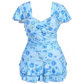 Refreshing Sweetheart Neck Short Sleeve One-Piece Floral Print Women's Swimwear - AZURE 6XL