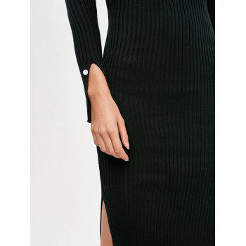 Long Sleeve Side Slit Bodycon Sweater Dress - BLACK ONE SIZE