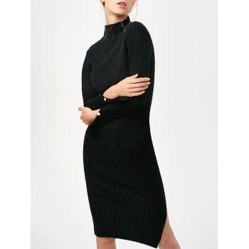 Long Sleeve Side Slit Bodycon Sweater Dress
