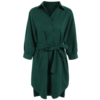 Belted Work Casual Shirt Dress with Sleeves