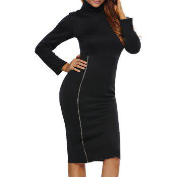 Turtleneck Zippered Knee Length Bodycon Dress