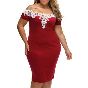 Plus Size Lace Panel Bodycon Dress