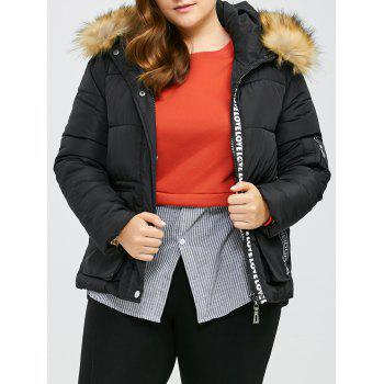 Plus Size Patched Anorak Jacket