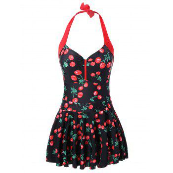 Plus Size Halter Cherry Print Swimwear