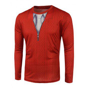 Long Sleeve Knitwear 3D Print T-Shirt