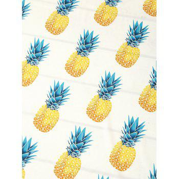 Round Pineapple Printed Tassel Beach Throw - ONE SIZE ONE SIZE