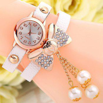 Layered Bowknot Faux Leather Bracelet Watch