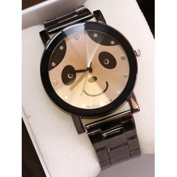 Stainless Steel Band Panda Quartz Watch