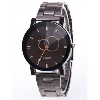 Stainless Steel Band Circle Quartz Watch - BLACK
