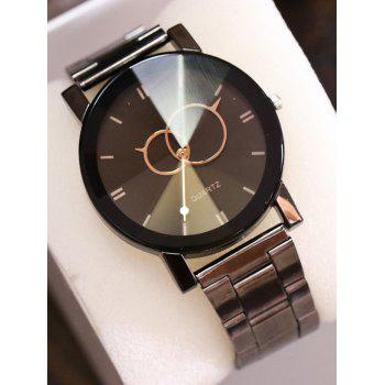 Stainless Steel Band Circle Quartz Watch