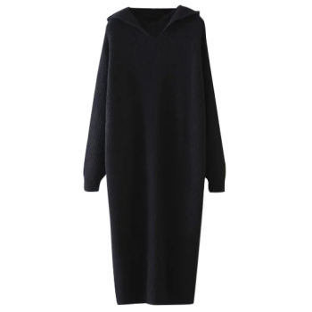 Hooded Jumper Dress - BLACK ONE SIZE
