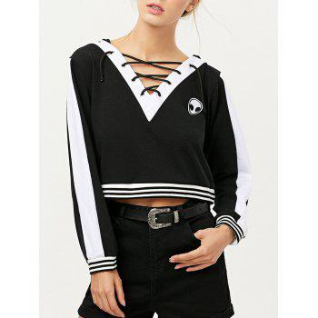 V Neck Lace Up Alien Cropped Hoodie