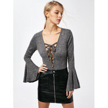 Bell Sleeve Low Cut Lace Up Bodysuit