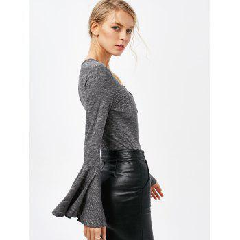 Bell Sleeve Low Cut Lace Up Bodysuit - GRAY S