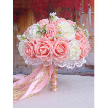 Faux Pearl Chain Artificial Rose Wedding Bouquets - LIGHT PINK LIGHT PINK