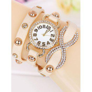 Rhinestone Layered Wrap Bracelet Number Watch