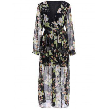 Plus Size Chiffon Full Sleeve Floral Maxi Dress
