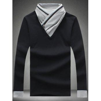 Color Block Zipper Design Shawl Collar T-Shirt