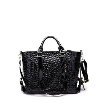 Double Buckle Embossing Tote Bag