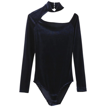 Velvet Choker Long Sleeve Bodysuit