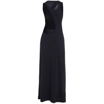 Sexy Style Jewel Neck Asymmetrical Backless Sleeveless Dress For Women - BLACK S