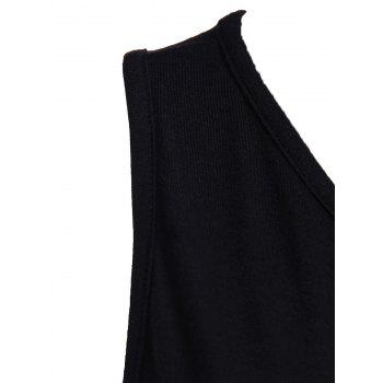 Sexy Style Jewel Neck Asymmetrical Backless Sleeveless Dress For Women - BLACK M