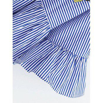 Striped Embroidered Smock Blouse - BLUE S