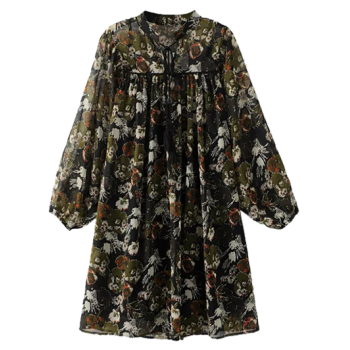 Printed Long Sleeve Chiffon Dress