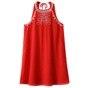 Cut Back Sleeveless Embroidered Dress