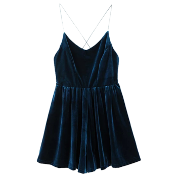 Velvet Slip Low Back Skirted Romper - PEACOCK BLUE S