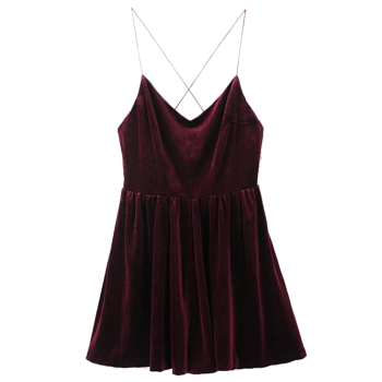 Velvet Slip Low Back Skirted Romper - WINE RED S