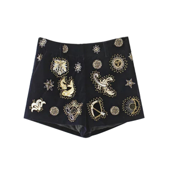 Pleuche Beaded Embroidered Shorts - BLACK S