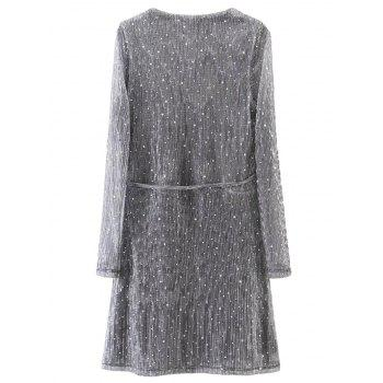 Wrap Sequines Glitter Dress with Sleeves - L L
