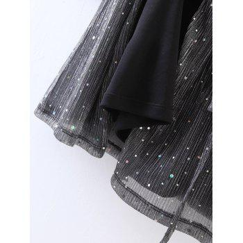 Wrap Sequines Glitter Dress with Sleeves - DEEP GRAY M