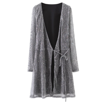 Wrap Sequines Glitter Dress with Sleeves - DEEP GRAY S