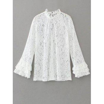 Ruff Collar Back Cut Out Lace Blouse
