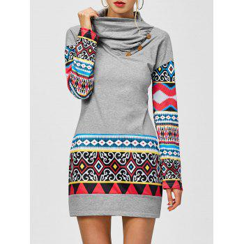 Tribal Print Long Sleeve Sheath Dress - LIGHT GRAY S