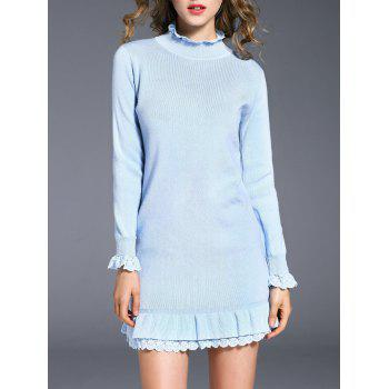 Ruffle Neck Long Sleeve Knit Dress