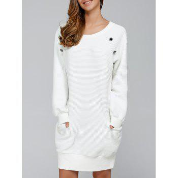 Long Raglan Sleeve Mini Shift Mini Dress - WHITE M